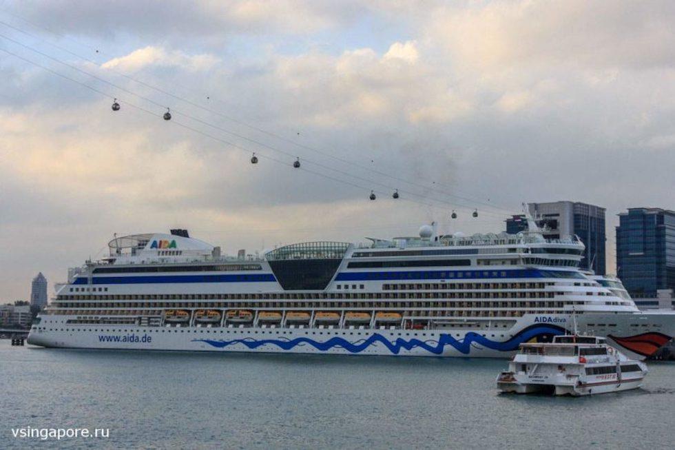 Морской порт и канатная дорога в Сингапуре