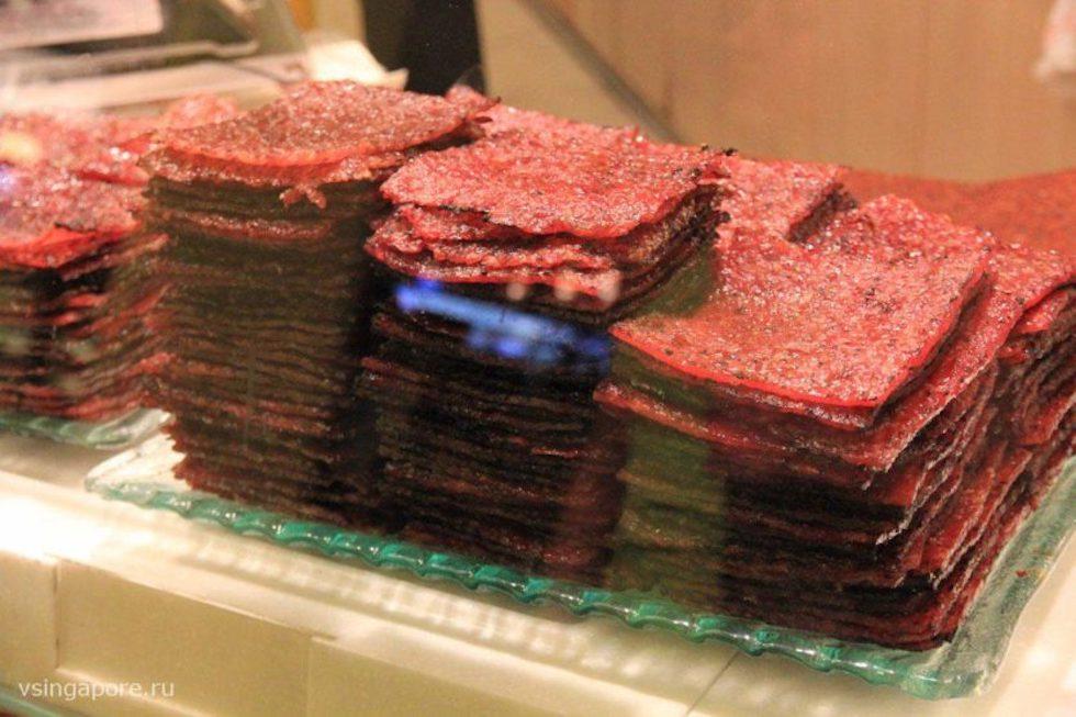 Мясо Bakkwa в киоске BEE CHENG HIANG
