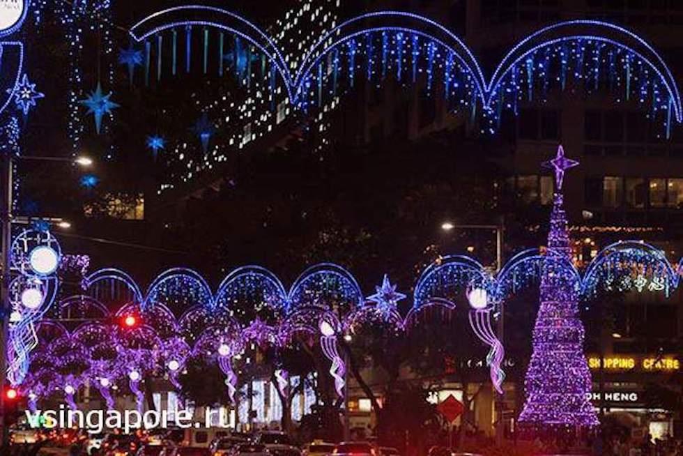 Новогодние улицы Сингапура