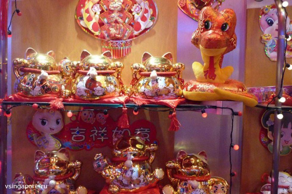 Новогодний базар в Чайнатауне Сингапура