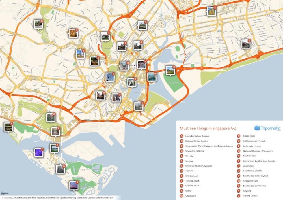 Карта достопримечательностей Сингапура