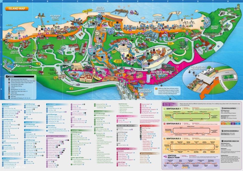 Карта осторова Сентоза